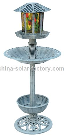Solar Resin Birdbath Resin Bird Feeder with Lamp