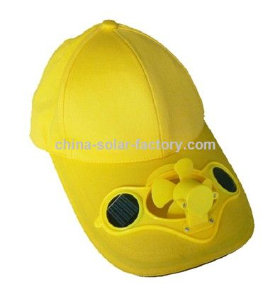 Yellow Solar Fan Cap
