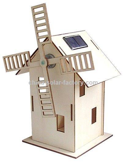 Wooden Solar Windmill Toy
