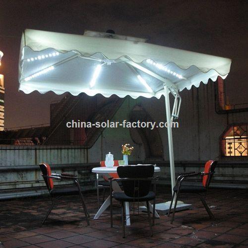 werbeartikel solar regenschirm mit led leuchten. Black Bedroom Furniture Sets. Home Design Ideas